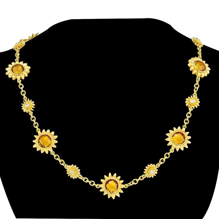 Contemporary Bielka Diamond Citrine Yellow Gold Sunflower Link Necklace For Sale