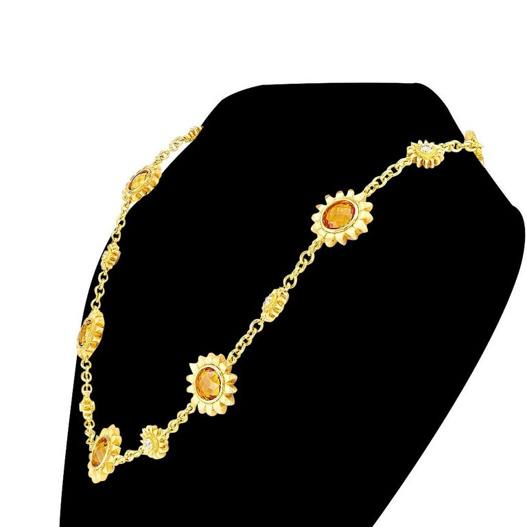 Round Cut Bielka Diamond Citrine Yellow Gold Sunflower Link Necklace For Sale