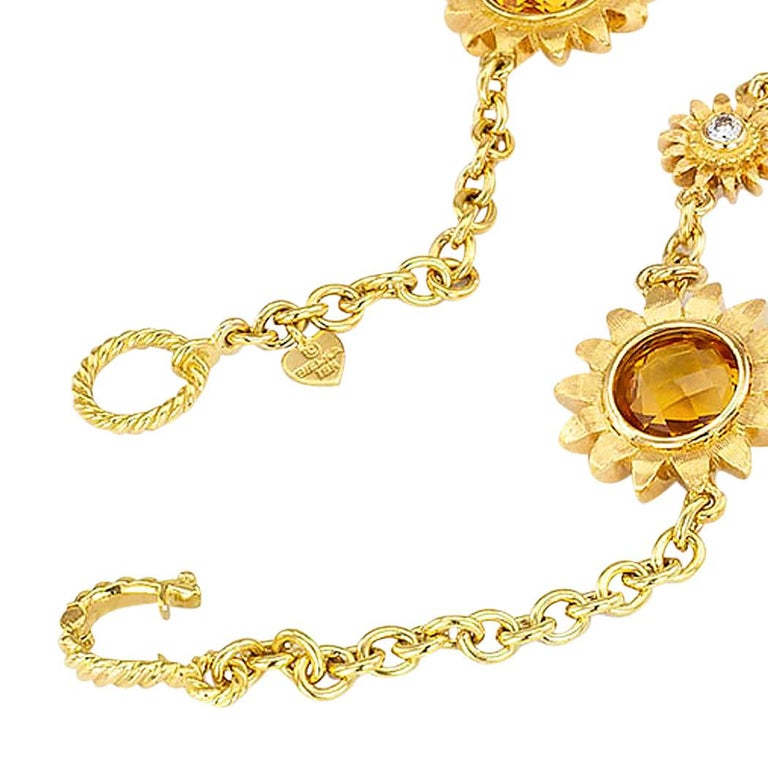 Bielka Diamond Citrine Yellow Gold Sunflower Link Necklace In Good Condition For Sale In Los Angeles, CA