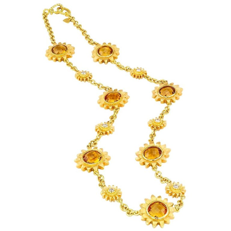 Bielka Diamond Citrine Yellow Gold Sunflower Link Necklace For Sale