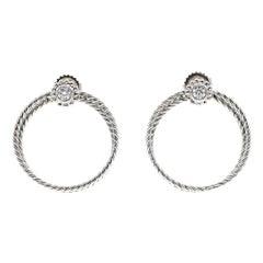 Bielka Diamond Twisted Wire Gold Hoop Earrings