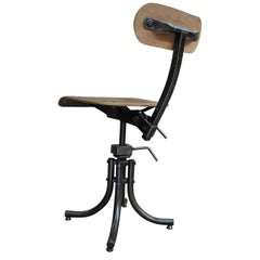 Bienaise French Swiveling and Adjustable Industrial Metal and Wood Chair, 1962