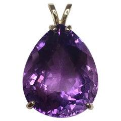 Big 27.62 Carat Purple Amethyst Pear Teardrop Cut Yellow Gold Pendant