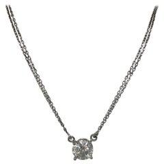 Big 3.1 Carat White Round Cut Diamond Pendant Necklace 18 Karat