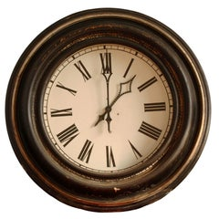 """Big 38"""" Antique Wood Cased Iron Dial Railway Train Station Clock, Germany, 1890s"""