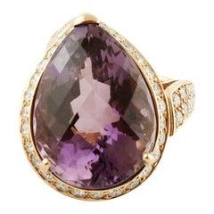 Big Amethyst Drop, Diamonds, 18 Karat Yellow Gold Ring