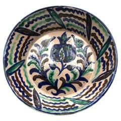 Big Ancient Fajalauza Bowl with Pomergranate, Circa 1900