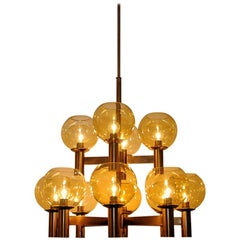Big and beautiful Vintage Ceiling Lamp of brass and glass 1960`s - Scandinavia
