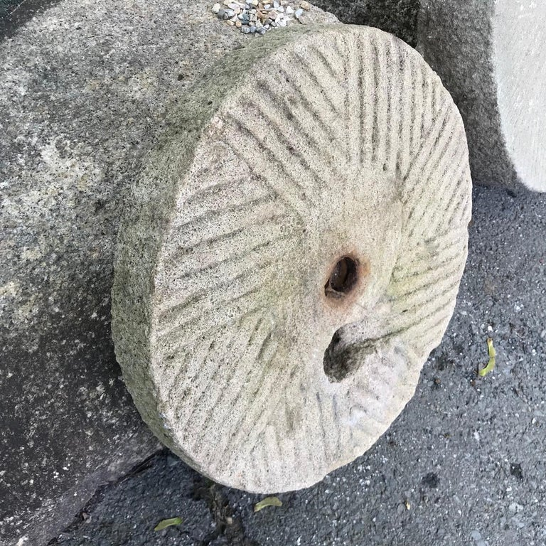 Chinese Big Antique Hand-Carved Garden Mill Stone, 19th Century For Sale