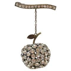 Big Apple Sparkling Crystal Vintage Art Deco Silver Brooch Pin