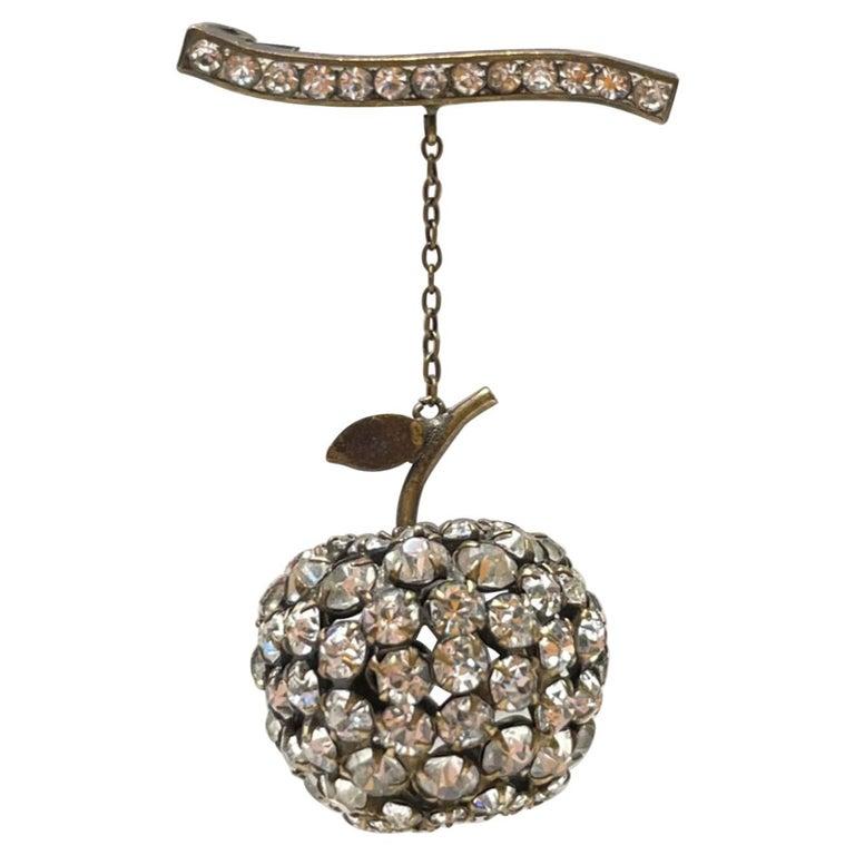 Big Apple Sparkling Crystal Vintage Art Deco Silver Brooch Pin For Sale
