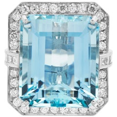 Big Aquamarine 'Emerald Cut' and Diamond Ring in British Hallmarked 18k Gold
