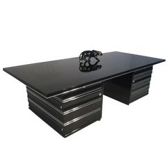 Big Art Deco Boss Desk, Black Lacquer and Chrome Parts, France circa 1930