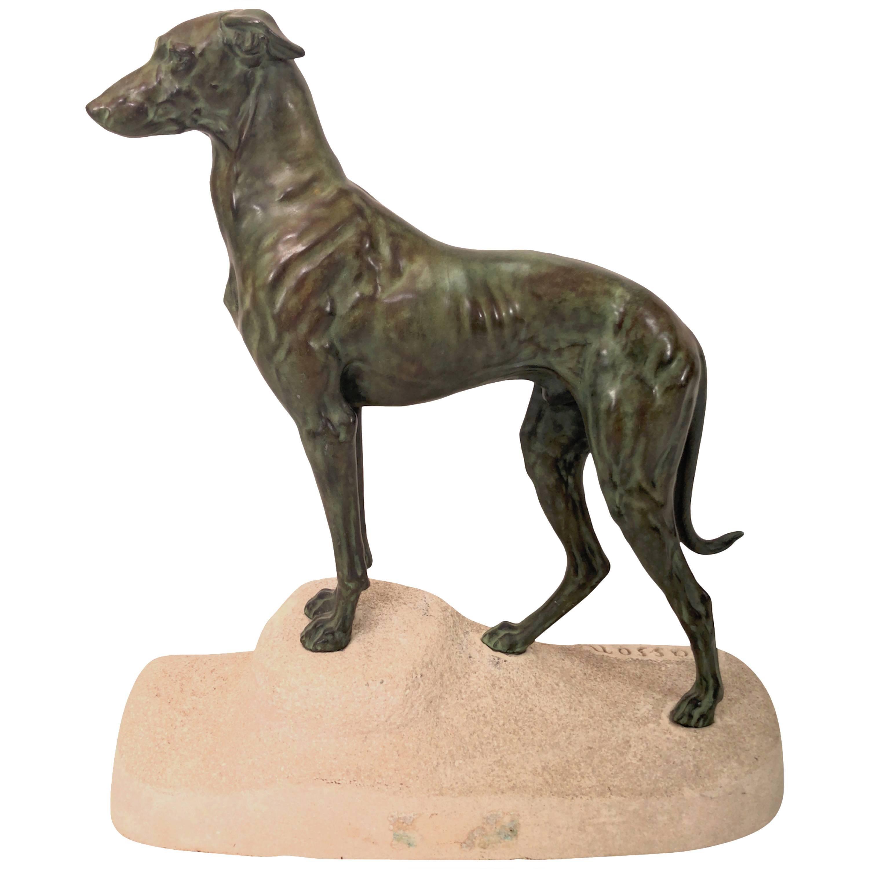 Impressive Max Le Verrier Art Deco Greyhound Sculpture Sloughi by Masson