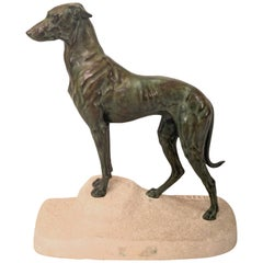 Big Art Deco Greyhound Sculpture Sloughi by Masson, Original Max Le Verrier