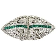 Big Art Deco Style Costume Emerald Green Rhinestone Dress Clips Brooches Duette