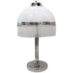 Big Art Deco Table Lamp Nickel-Plated with Original Satined Opal Glas, 1920s