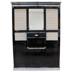Big Art Deco Wardrobe, Black and Chrome, France, circa 1930