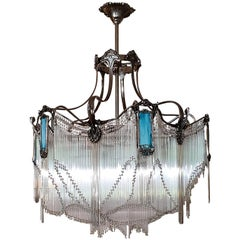 Big size French bronze Guimard's chandelier with nickel finish and blue pâte de