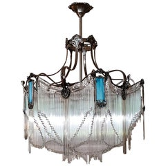 Big Art Nouveau Bronze Chandelier