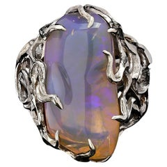 Big Australian Neon Opal Silver Ring Medusa Gorgon Iridescent Blue Magic Stone