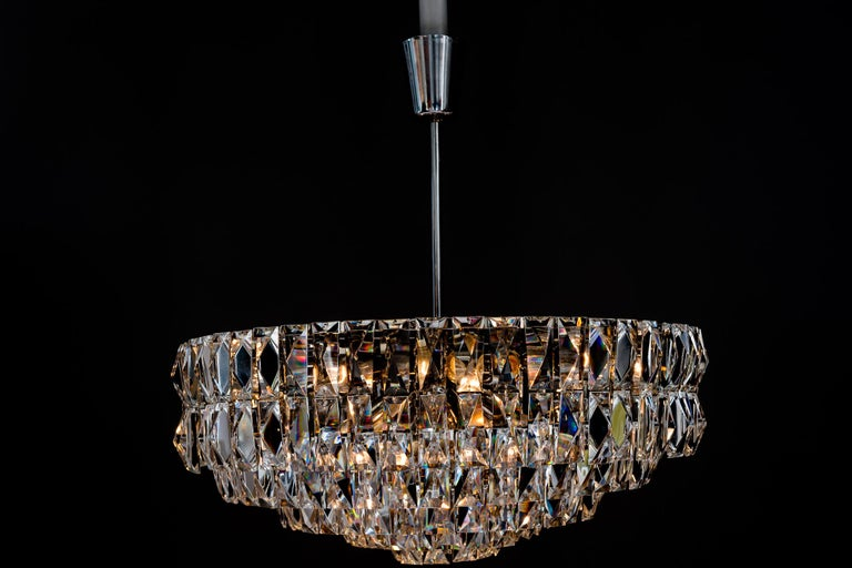 Plated Big Bakalowits Crystal Chandelier, circa 1960s For Sale
