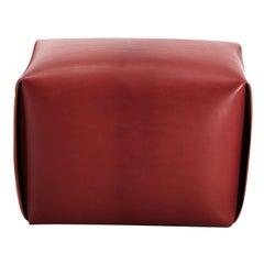 Big Bao Red Leather Ottoman by Manifestodesign