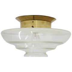 Big Bauhaus Ceiling or Wall Lamp, Flush Mount, in Style of Otto Müller, 1930s