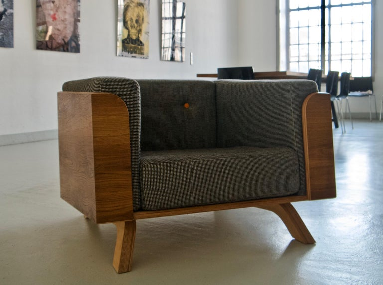 The Big Biscuit lounge chair is designed and handmade in Vienna by Lee Matthews. This item is made to order and can be made in a variety of finishes and fabrics.