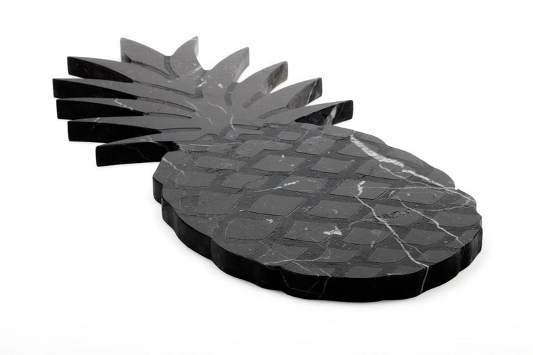 Hand-Crafted Big Black Marble Cutting Board and Serving Tray with Pineapple Shape For Sale