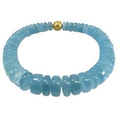 Big Blue Aquamarine Rondel Beaded Necklace with 18 Carat Mat Yellow Gold Clasp