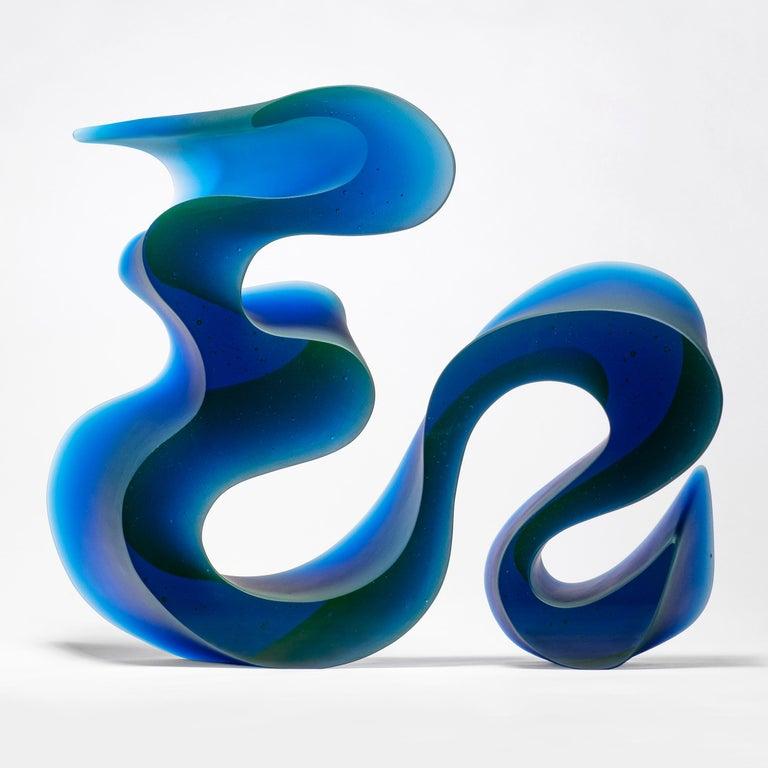 Organic Modern Big Blue Line, a Unique Blue Cast Glass Sculpture by Karin Mørch For Sale