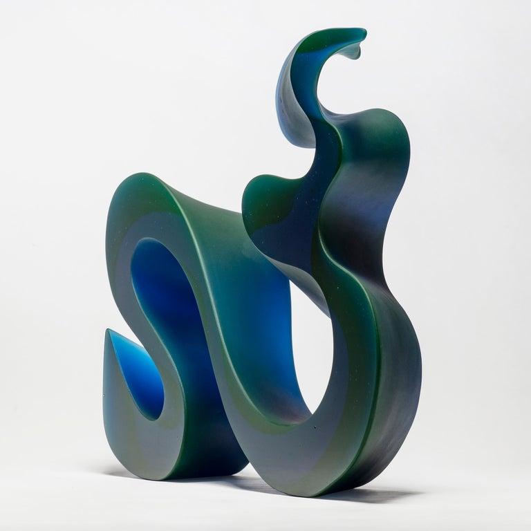 Danish Big Blue Line, a Unique Blue Cast Glass Sculpture by Karin Mørch For Sale