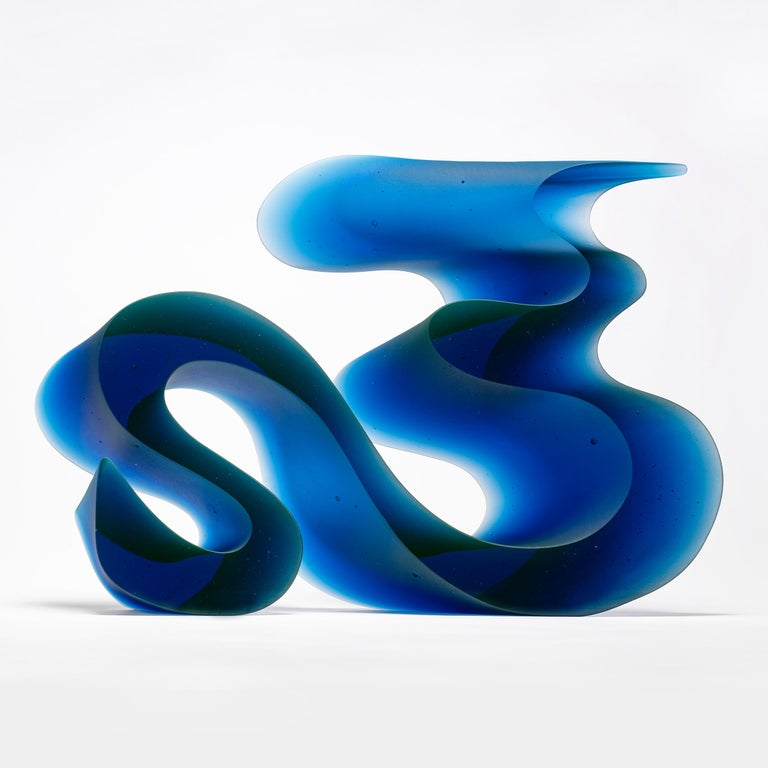 Big Blue Line, a Unique Blue Cast Glass Sculpture by Karin Mørch In New Condition For Sale In London, GB