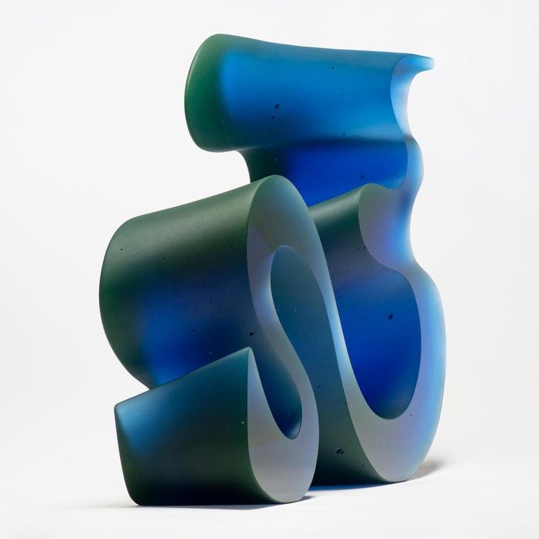 Contemporary Big Blue Line, a Unique Blue Cast Glass Sculpture by Karin Mørch For Sale