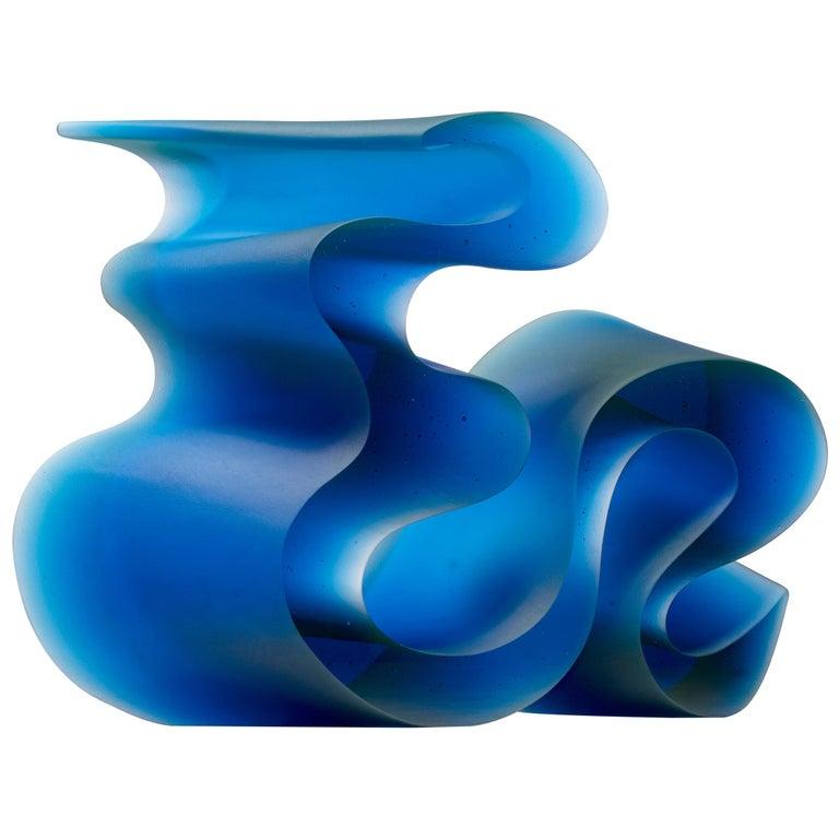 Big Blue Line, a Unique Blue Cast Glass Sculpture by Karin Mørch For Sale