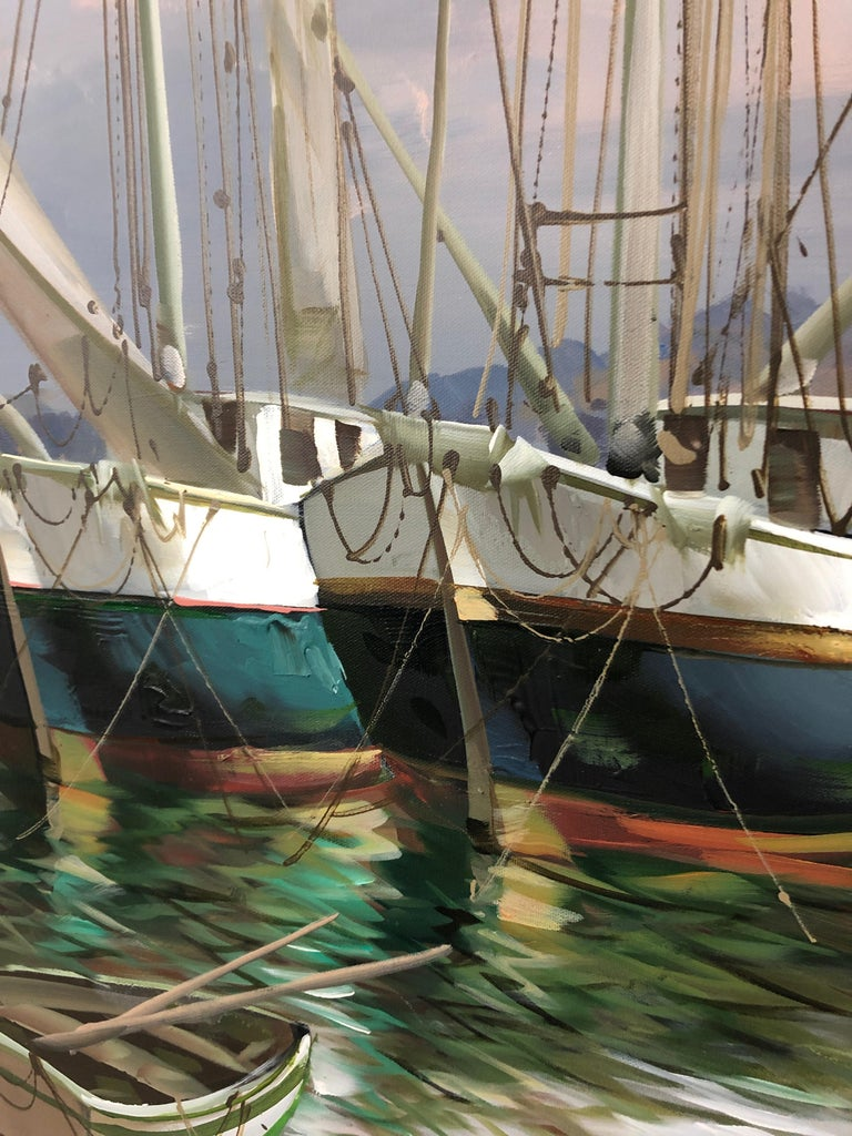 Big Bold Painterly Canvas of  Harbor Sailboats For Sale 2