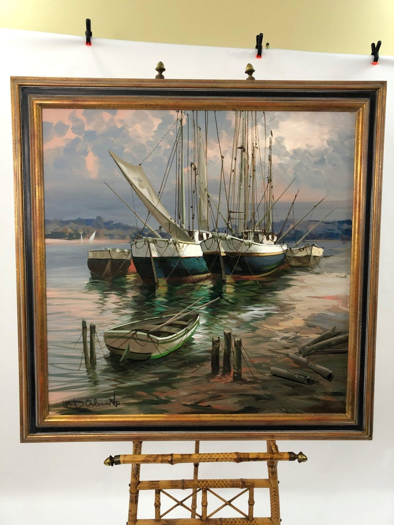 Big Bold Painterly Canvas of  Harbor Sailboats For Sale 6