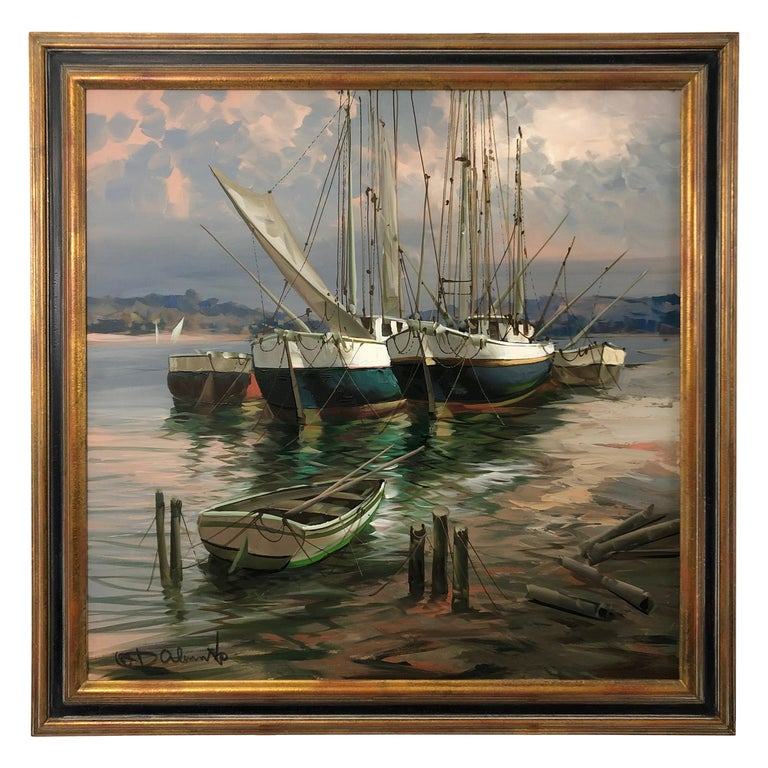 Big Bold Painterly Canvas of  Harbor Sailboats For Sale