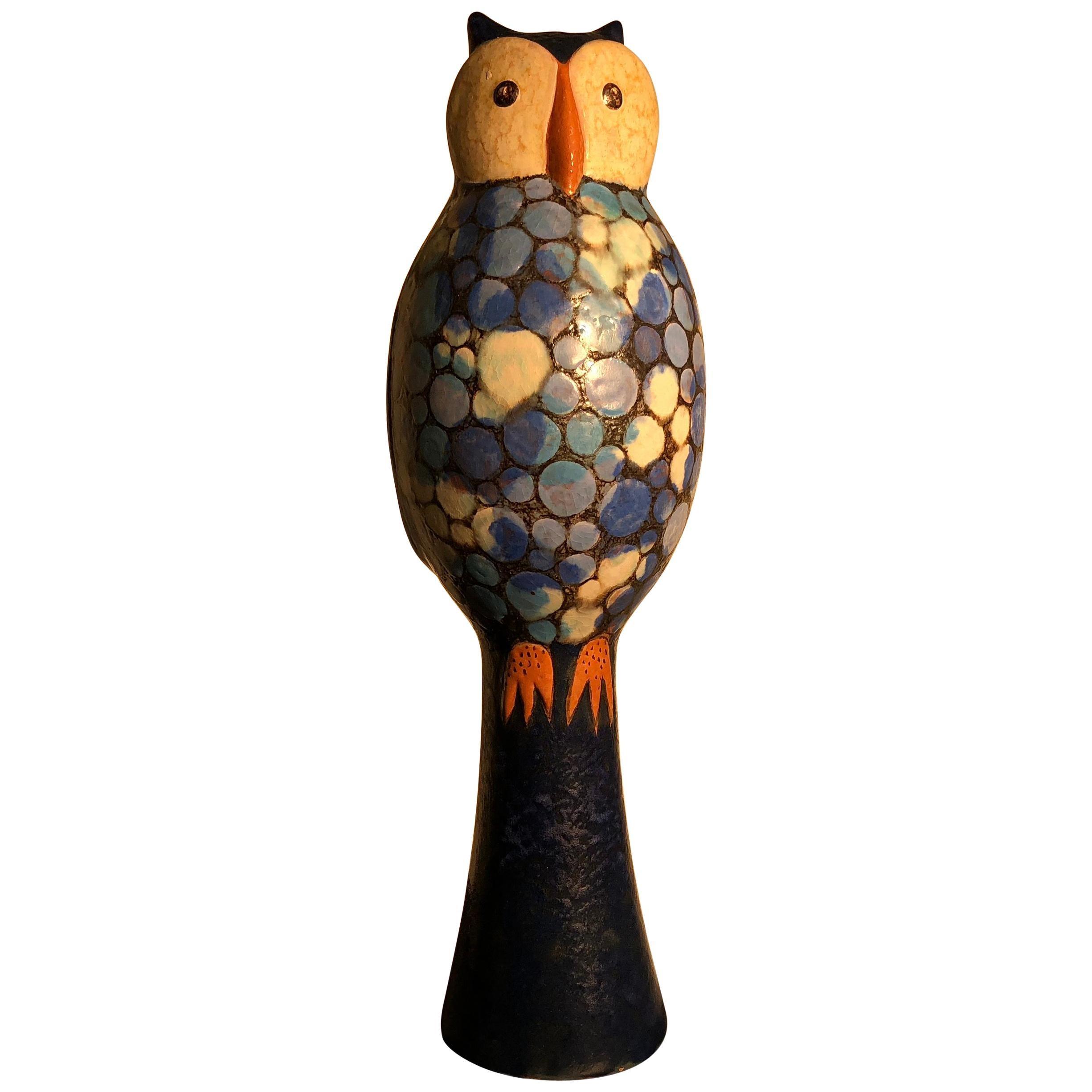 """Big Bold Tall Blue """"Polka Dot Owl"""" Handmade Master Artisan Eva Fritz-Lindner"""