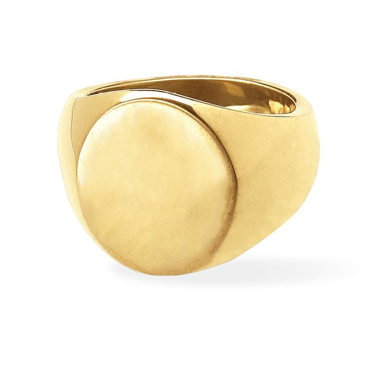 The Big Boy is the most grand of all the signet rings, hence the name. Boasting a generous amount of 18 Karat Gold, this ring is not for the faint of heart. Very bold and rich in appearance and size.  *Prices for hand engraving vary and are