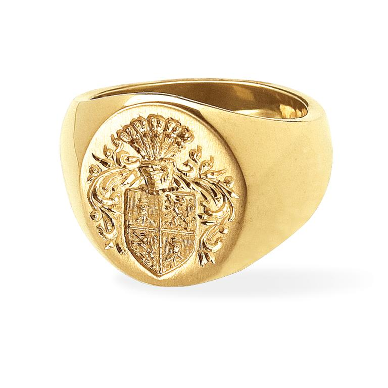 Contemporary Big Boy Signet Ring in 18 Karat Gold For Sale
