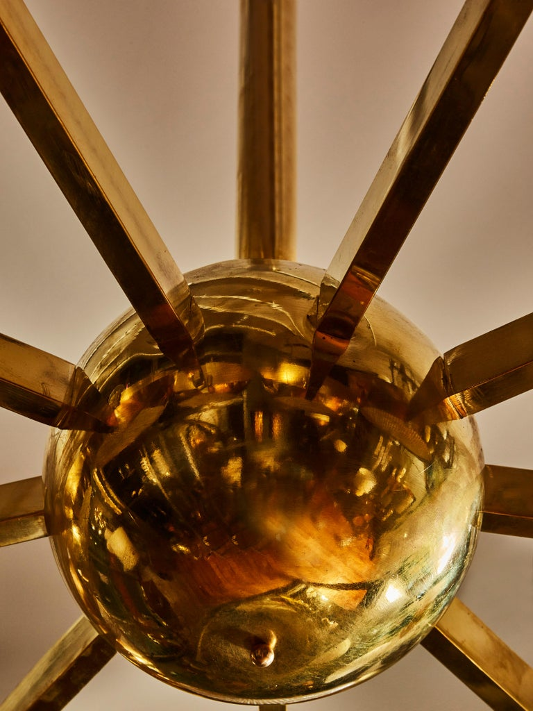 Italian Big Brass Chandelier with Glass Lenses For Sale