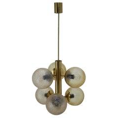 Big Brass Mid Century Sputnik Style Chandelier/ Pendant by Kaiser, 1970's