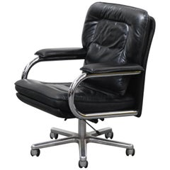 'Big' by Guido Faleschini for i4 Mariani Black Leather Desk Chair, 1980s, Signed