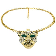 Big Cat Rhinestone Encrusted Pendant & Gold Chain Necklace 2000S