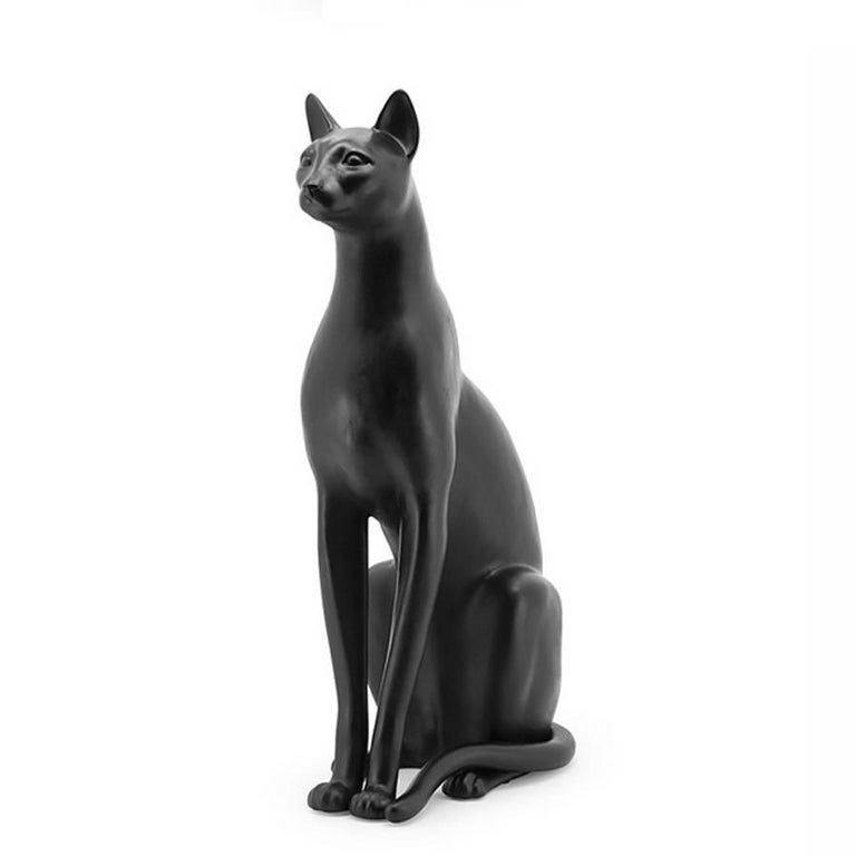 Italian Big Cat Sculpture in Ceramic Gold Painted Black or White or Leopard For Sale