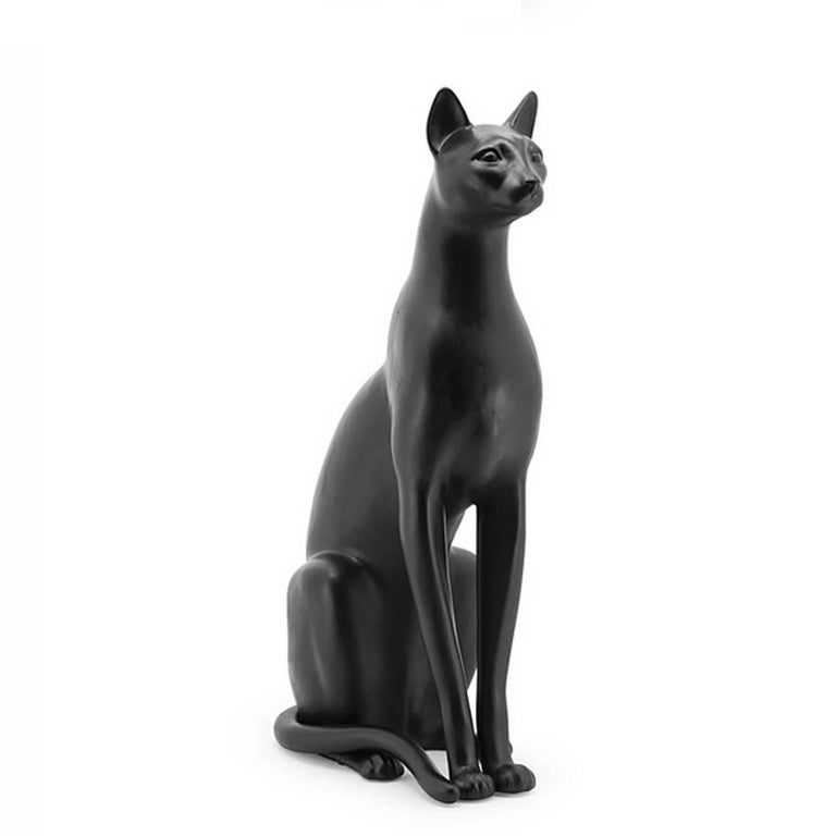 Big Cat Sculpture in Ceramic Gold Painted Black or White or Leopard In Excellent Condition For Sale In Paris, FR
