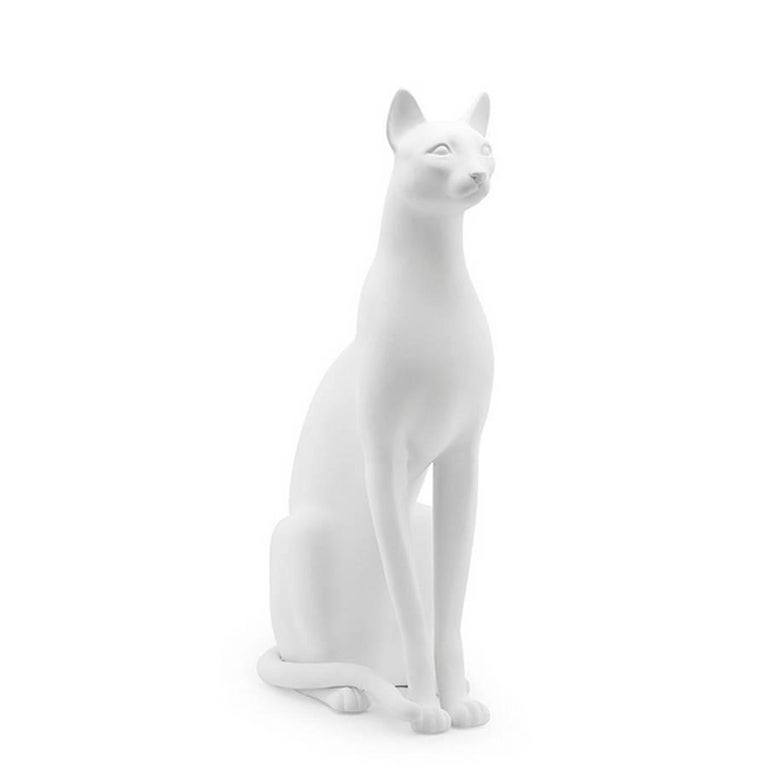 Contemporary Big Cat Sculpture in Ceramic Gold Painted Black or White or Leopard For Sale