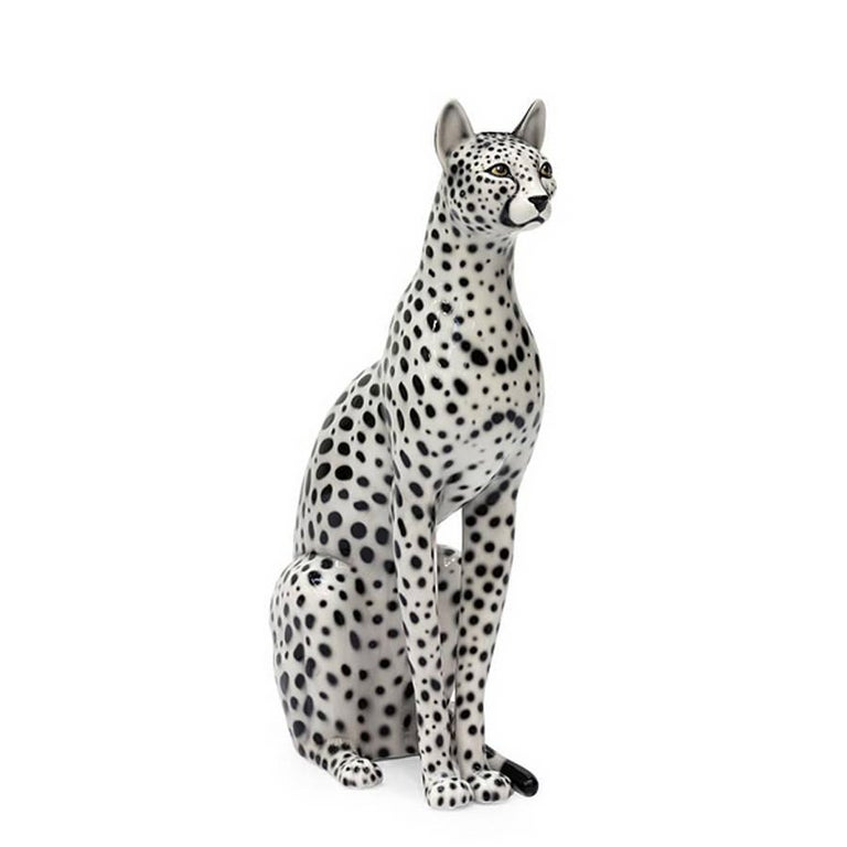 Big Cat Sculpture in Ceramic Gold Painted Black or White or Leopard For Sale 1